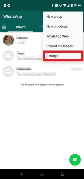 Press Settings in the options menu