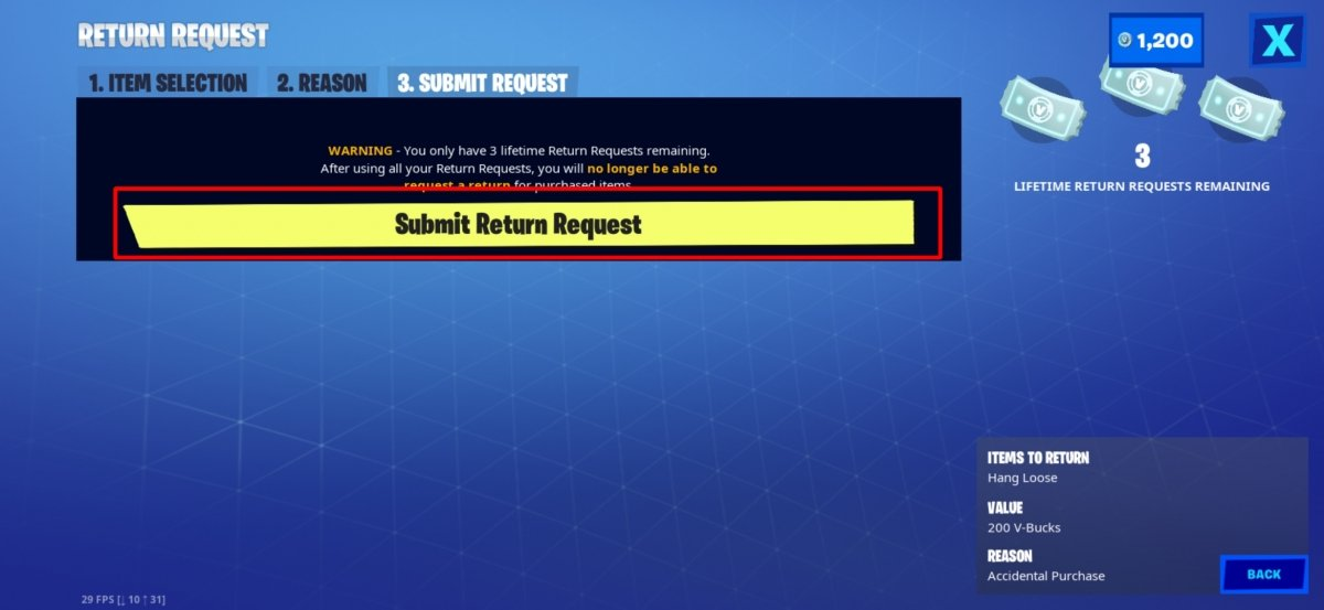 Tocamos en Submit Return Request