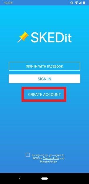 Clique na opção para criar uma conta