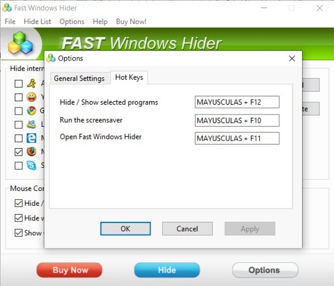 Anteprima di Fast Windows Hider