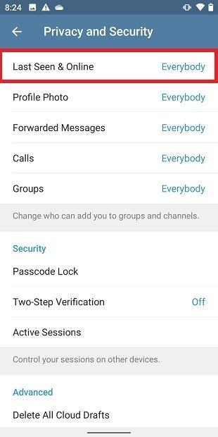 Privacy menu