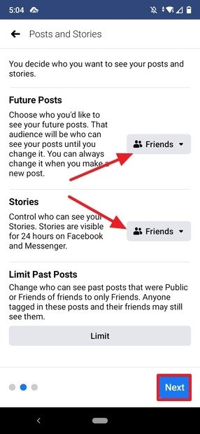 Privacy of posts and stories