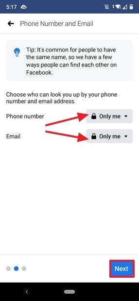 Privacy della ricerca dell'utente per numero di telefono o indirizzo e-mail
