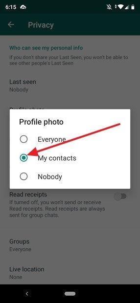 Privacy della foto del profilo