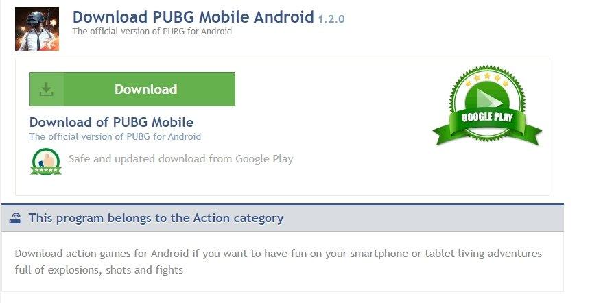 PUBG Mobile's download page