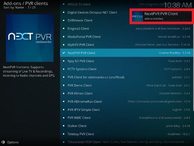 Client PVR installé sur Kodi