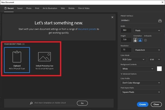 Quick actions when creating a new file