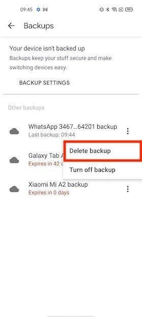 Eliminare backup di WhatsApp in Google Drive