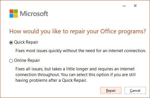 Reparación de Office