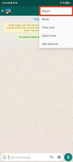 Segnalare utente a WhatsApp
