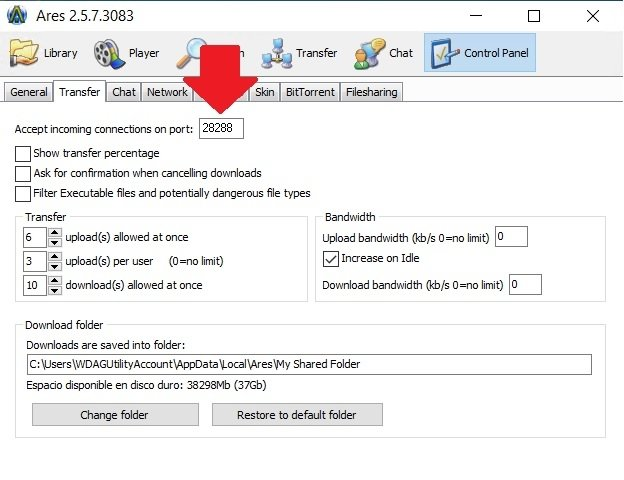 Restore Ares' port in the settings