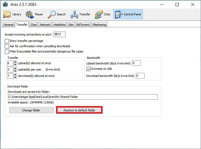 Restore the default folder
