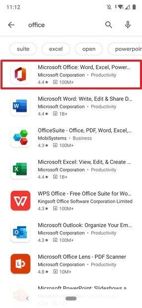 Resultados de Office en Google Play