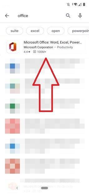 Resultados do Office no Google Play