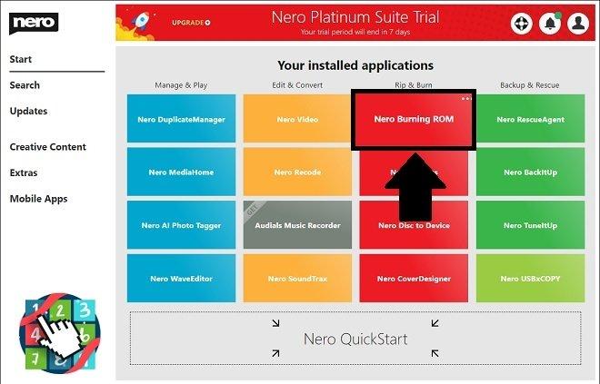 Run Nero Burning ROM from Nero Start