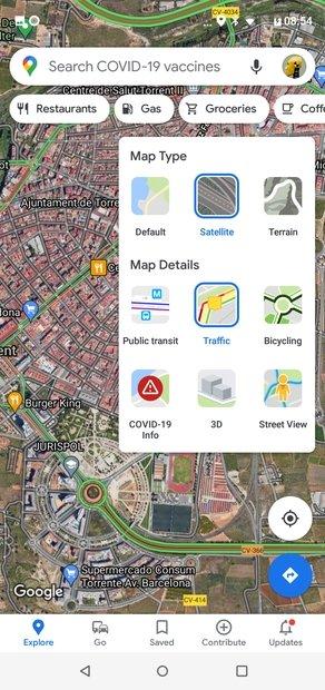 Vista satélite y detalle de tráfico