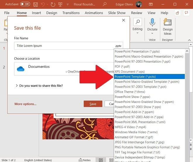 Save a template in a custom folder