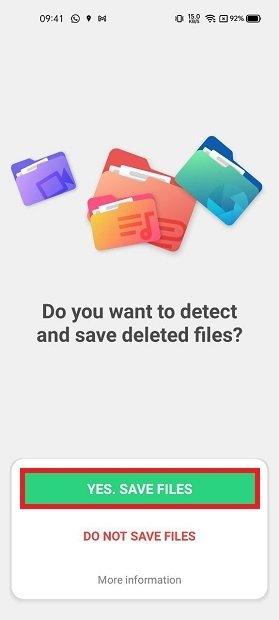 Guardar archivos borrados