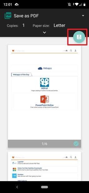 Salvo do site como PDF