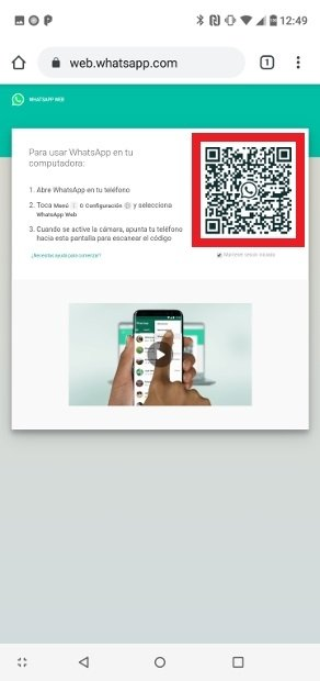 Scan the web's QR code with your victim's phone