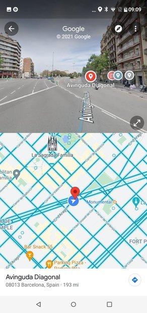 Pantalla dividida entre Street View y el mapa