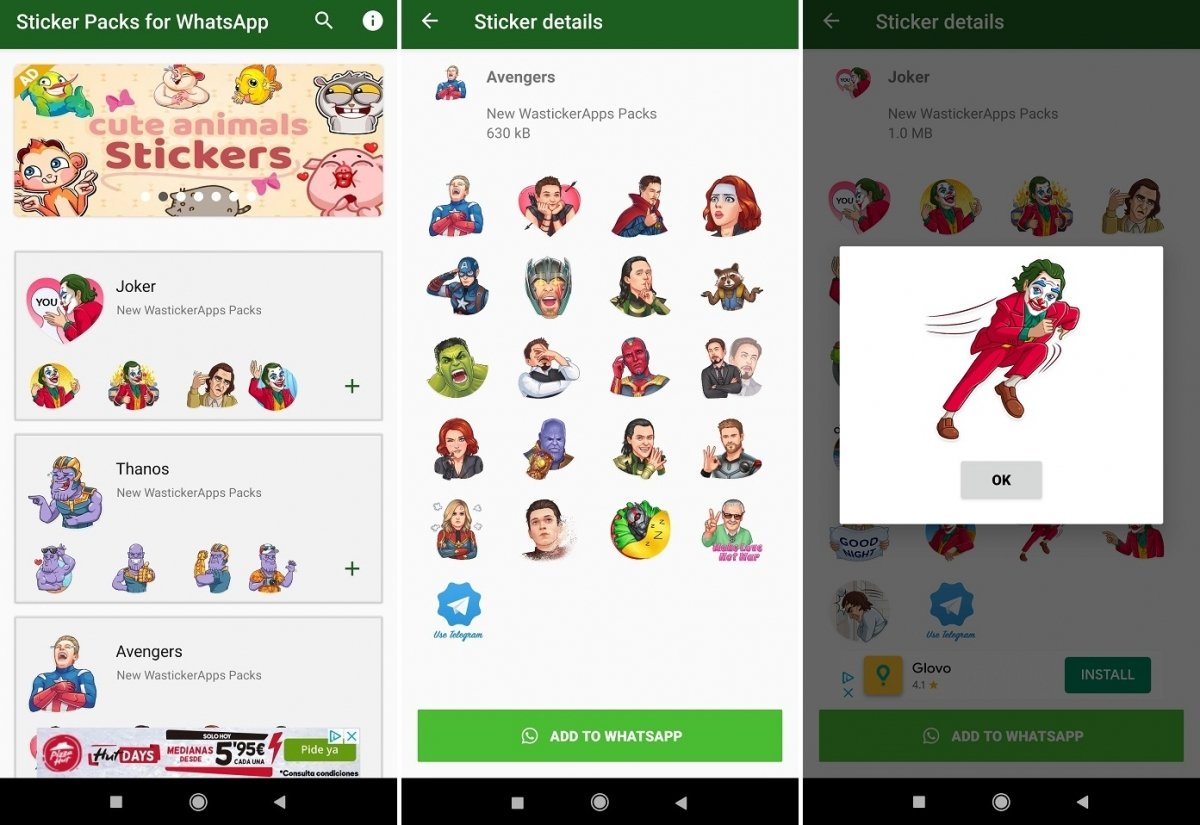 Screenshots of SuperHero Stickers' interface