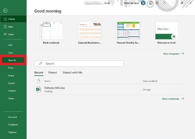 Busca la opción guardar como de Excel