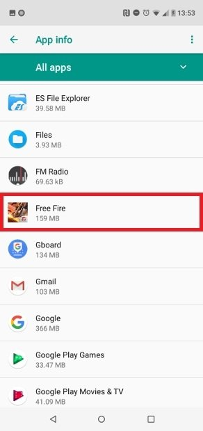 Search for Garena Free Fire on the list
