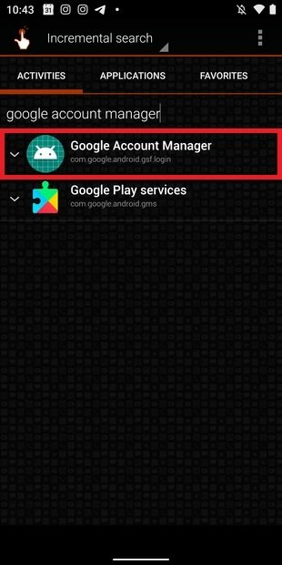 Suche nach Google Account Manager