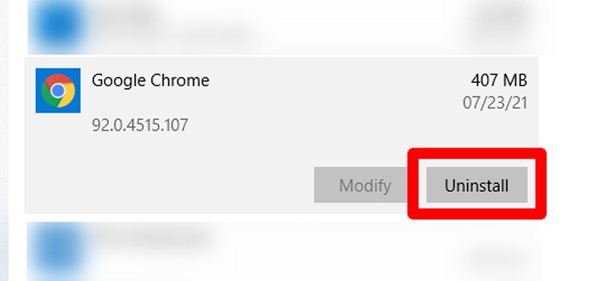 Найдите Google Chrome и нажмите Удалить, чтобы начать удаление
