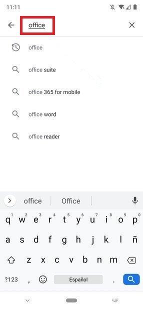Pesquisa do Office no Google Play