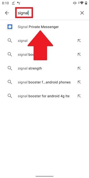 Rechercher Signal dans la Google Play Store