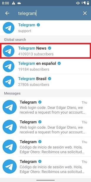 Buscar el canal oficial de Telegram