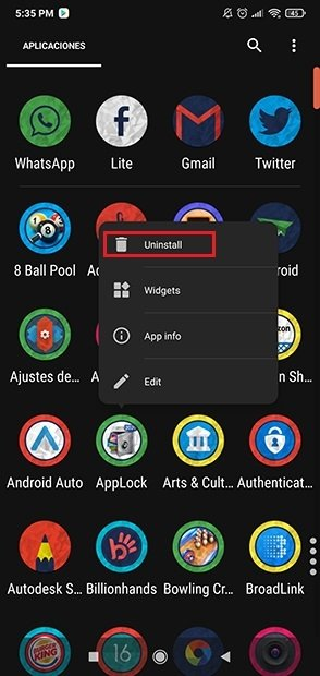Búsqueda de la app en el cajón de aplicaciones