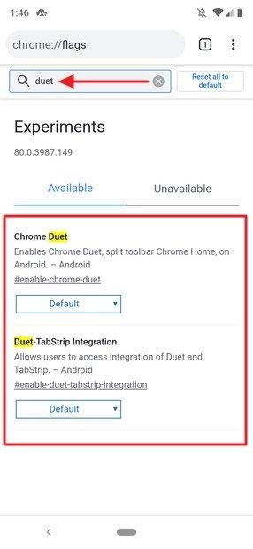 Busca do Chrome Duet