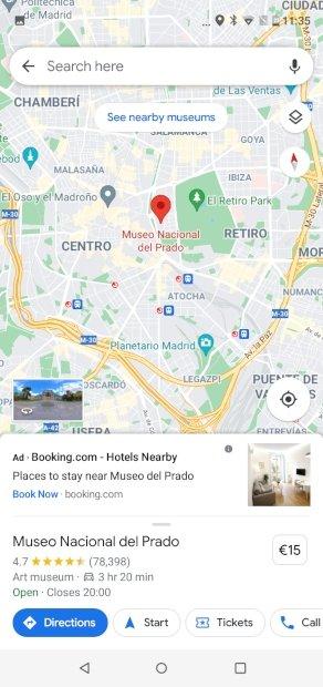 Seleccionar lugar marcado en el mapa