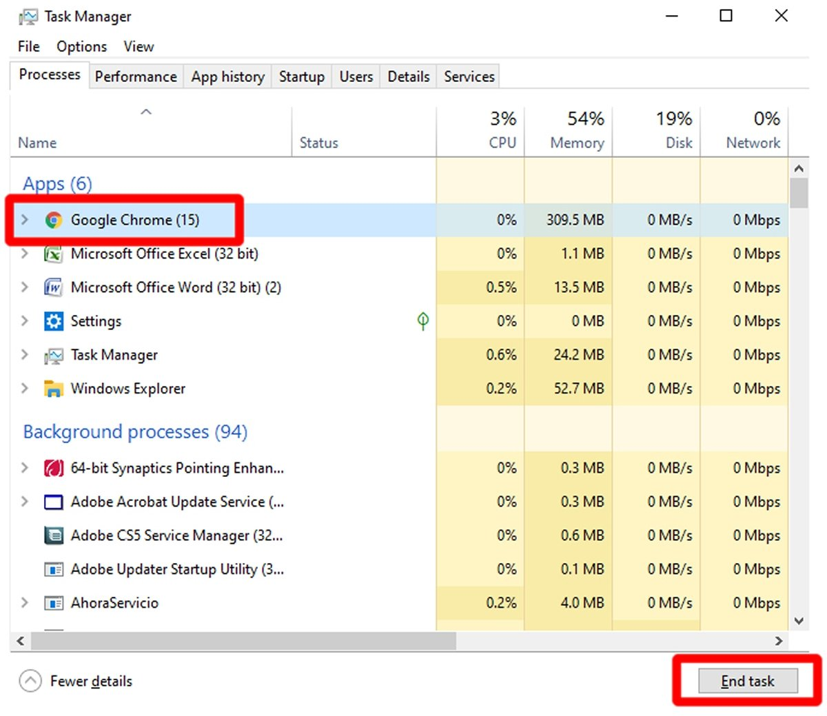 Выберите Google Chrome и нажмите Завершить задачу