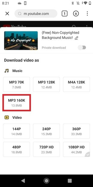 Select the download quality
