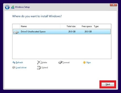 Select the hard drive to install Windows 10