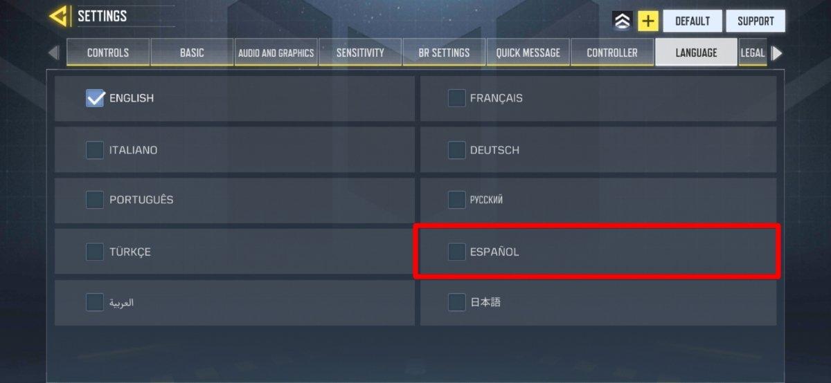 Selecciona el idioma que deseas utilizar en el juego