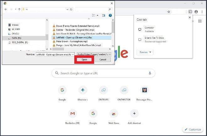 Wählen Sie die Multimedia-Datei aus, die an Chromecast gesendet werden soll