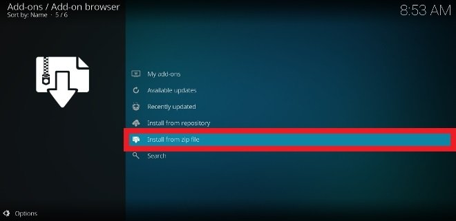 Seleziona la voce Install from zip file