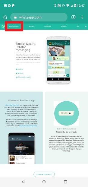 Select the option WhatsApp Web