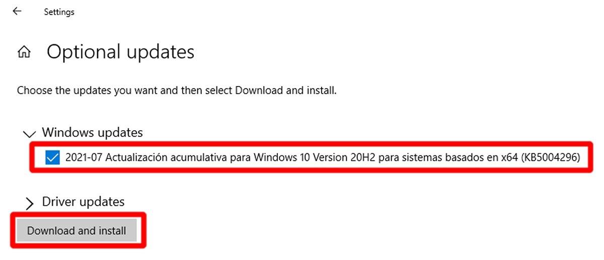 Выберите обновления Windows и нажмите Загрузить и установить