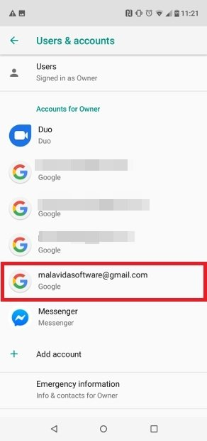 Selecciona tu cuenta de correo asociada con Google Play