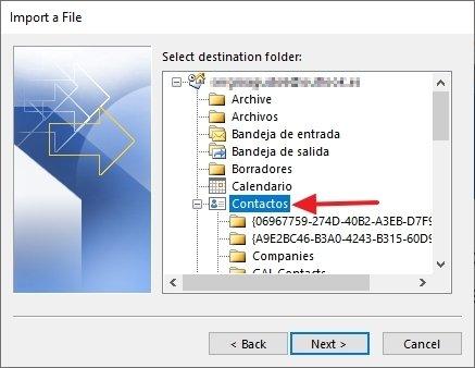 Selección de la carpeta de destino de los datos importados