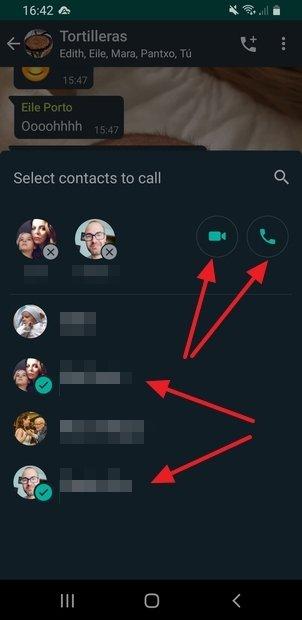 Selección de los participantes y del tipo de llamada
