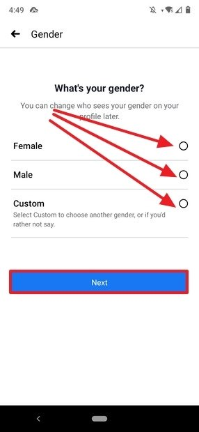 Selecting the user's gender