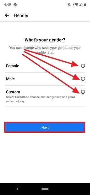 Sélection du genre de l'utilisateur