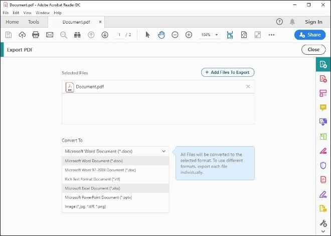 Selección del formato Excel
